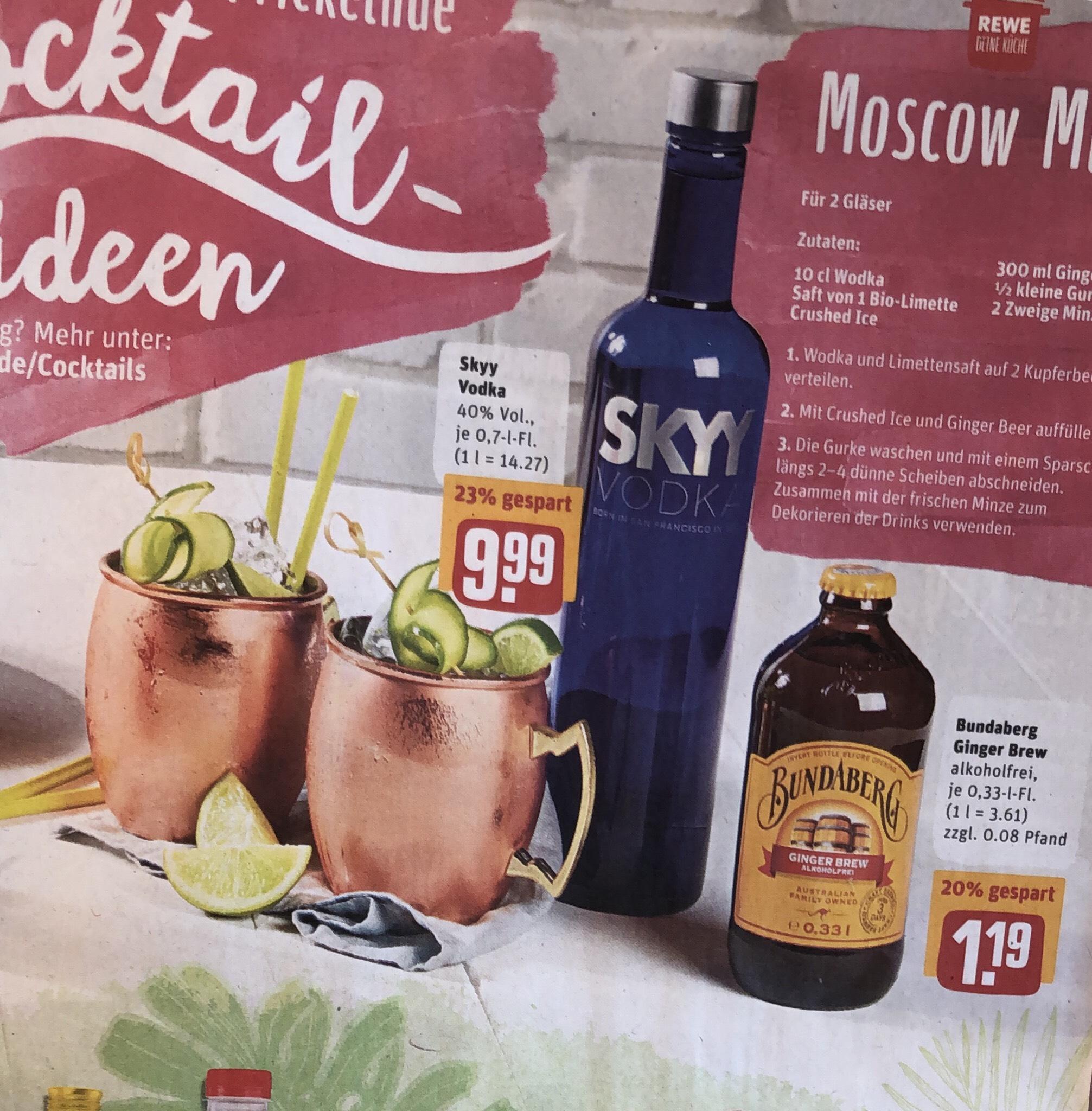 [REWE] Skyy Vodka und Budaberg Ginger Brew für Moscow Mule