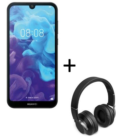 Huawei Y5 (2019) - 16 GB bis 512GB erweiterbar - Android 9 - 2 x Nano-SIM +  ersten 1.000 Besteller Medion BT Kopfhörer E62113 gratis