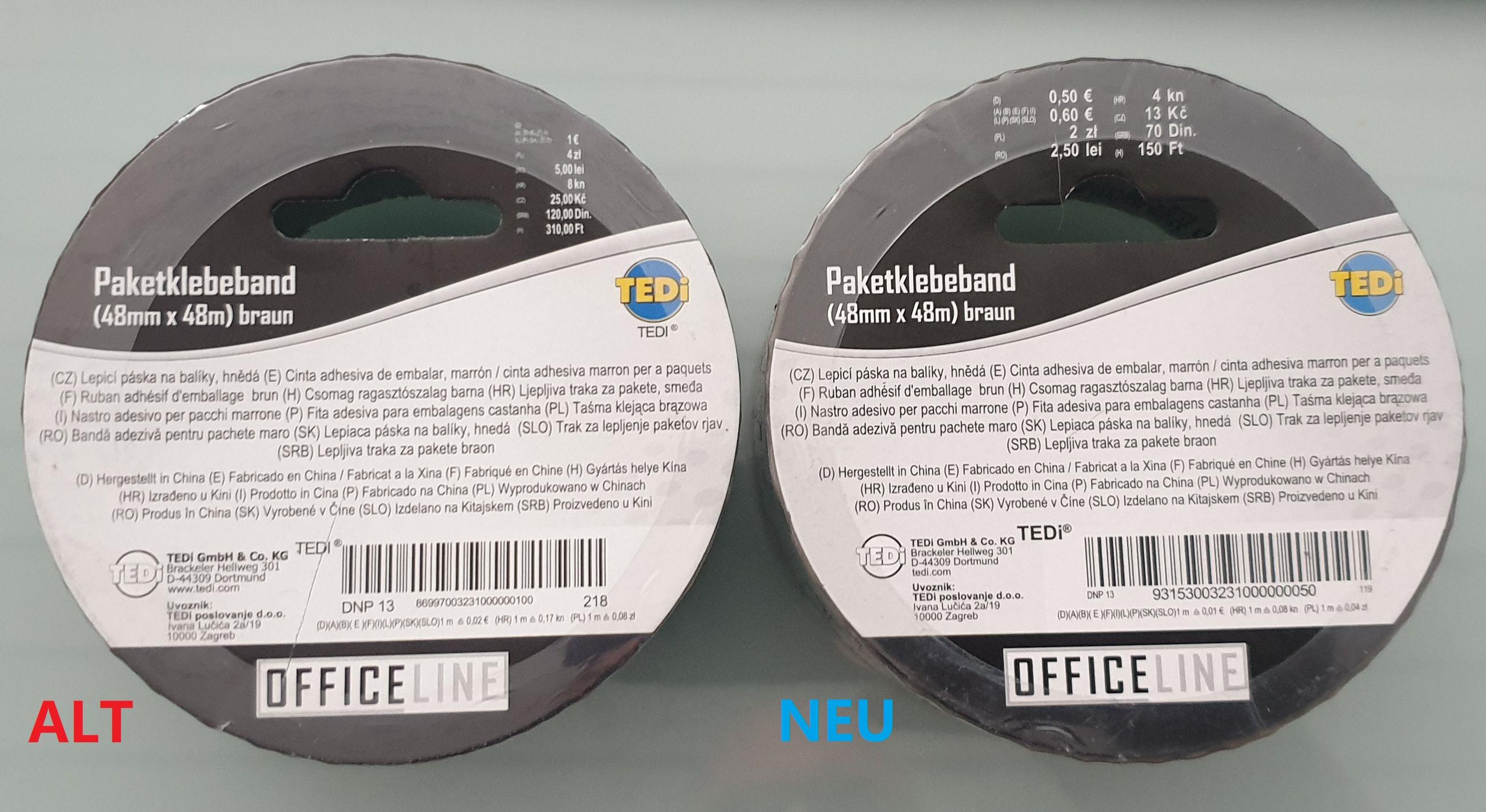 Paketklebeband 48mm x 48m für 0,50€ statt 1,00€ Neuer Preis bei Tedi