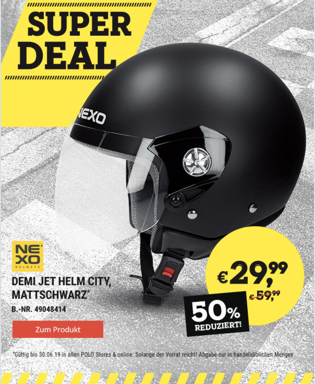 Polo Motorrad: Nexo Demi Jet Helm City 29,99 statt 59,99 (online + 3,49 VSK)