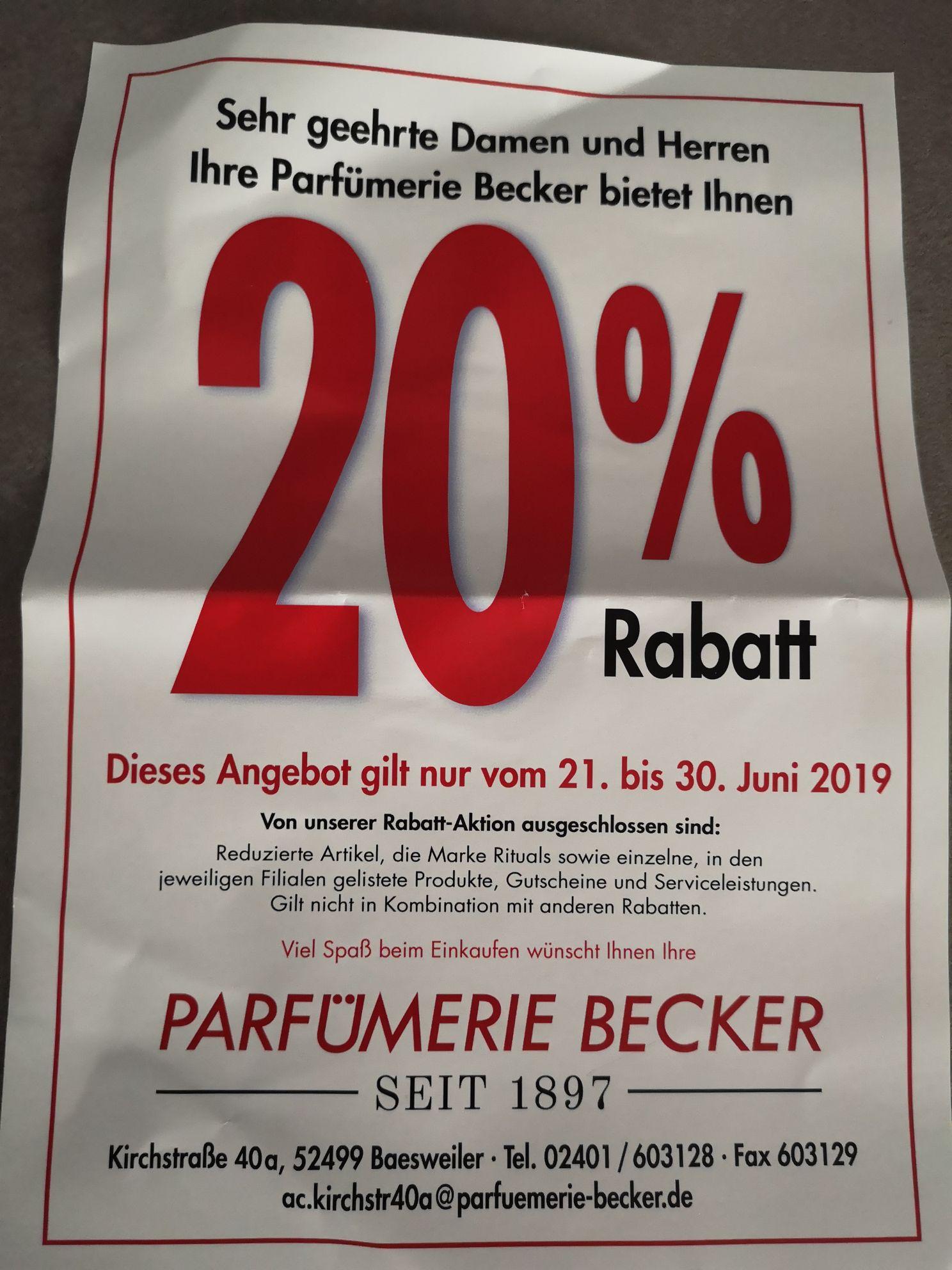 (lokal und offline) 20% Rabatt Parfümerie Becker Baesweiler