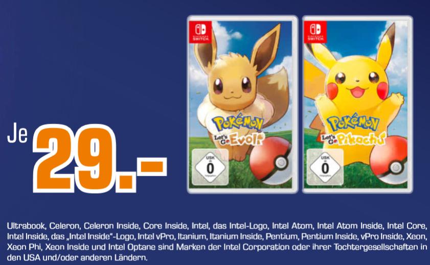 [Lokal: Saturn Ansbach] Pokémon - Let's Go, Pikachu! oder Let's Go Evoli! für je 29€ | Schlag den Star oder Snipperclips Plus für je 19€