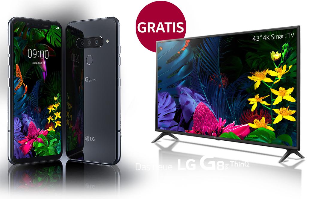 """Neues LG G8S ThinQ Premium Smartphone kaufen (710,90€) und LG 4K 43"""" Smart TV 43UM71007LB (idealo ab 395€) gratis dazu erhalten"""