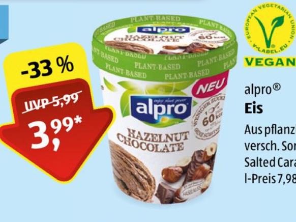 Alpro Eis, Manner Schnitten, Gemüsechips, Linsenspaghetti und andere vegane Produkte ab 5.7. bei Aldi Süd