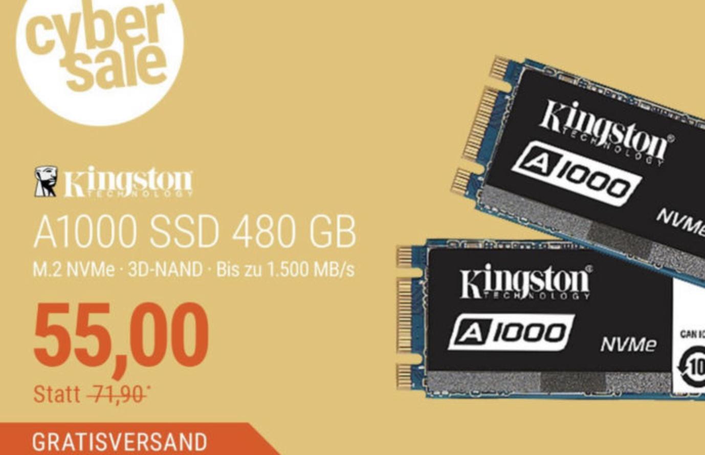 Cybersale: Kingston A1000 SSD M.2 480GB NVMe TLC - 80mm für 55€ inkl. Versandkosten