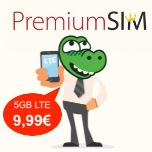 5GB LTE PremiumSIM Tarif für mtl. 9,99€ mit Allnet- & SMS-Flat (monatlich kündbar / 24-Monatsvertrag, Telefonica-Netz)