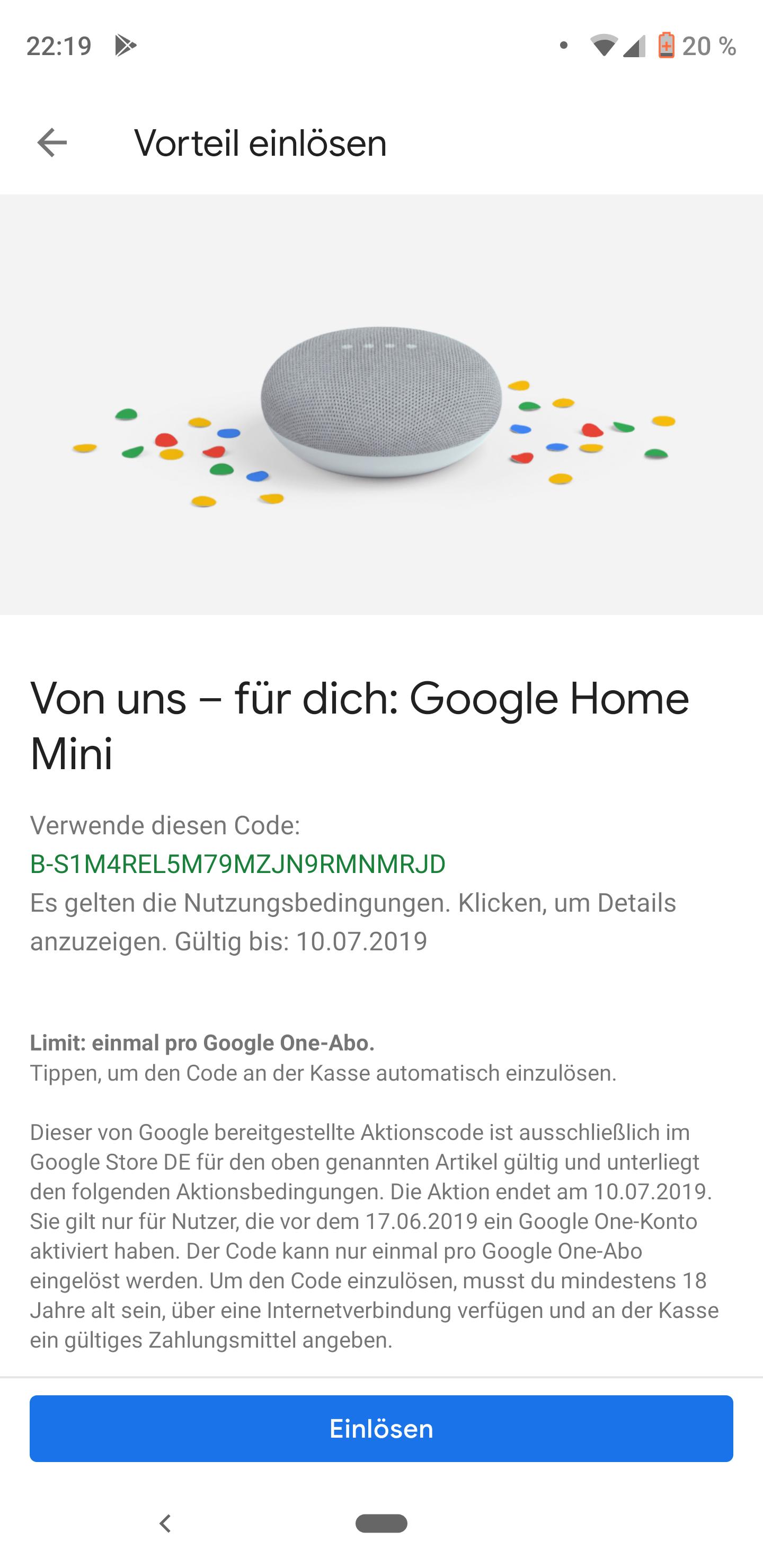 Google Home Mini gratis für Google One Abonnenten die vor dem 17.6. schon ein Abo hatten
