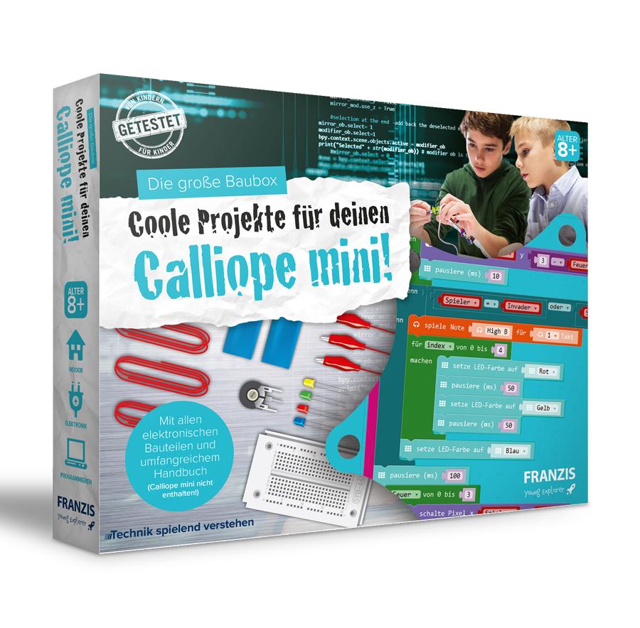 Franzis: Die große Baubox - Coole Projekte für deinen Calliope mini (Steckbrett, LEDs, Potentiometer, Krokokabet, Kupferdraht, Handbuch)