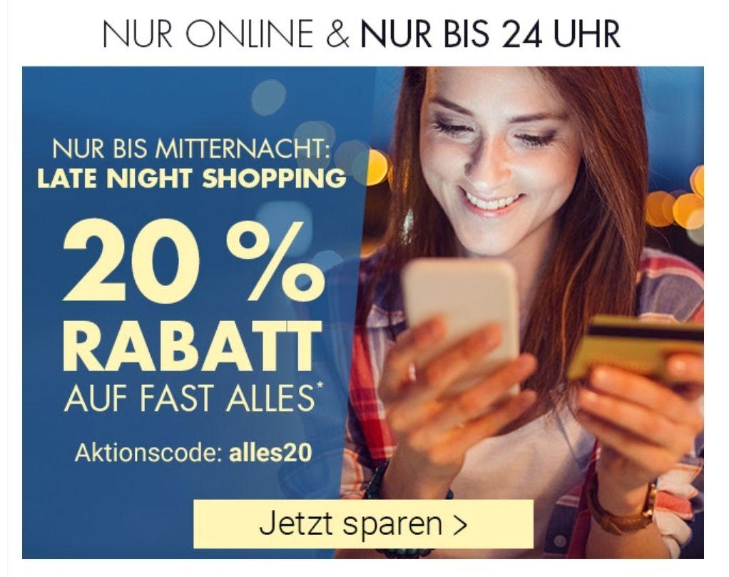20 % Rabatt auf fast alles bei Karstadt bis 24 Uhr und nur Online