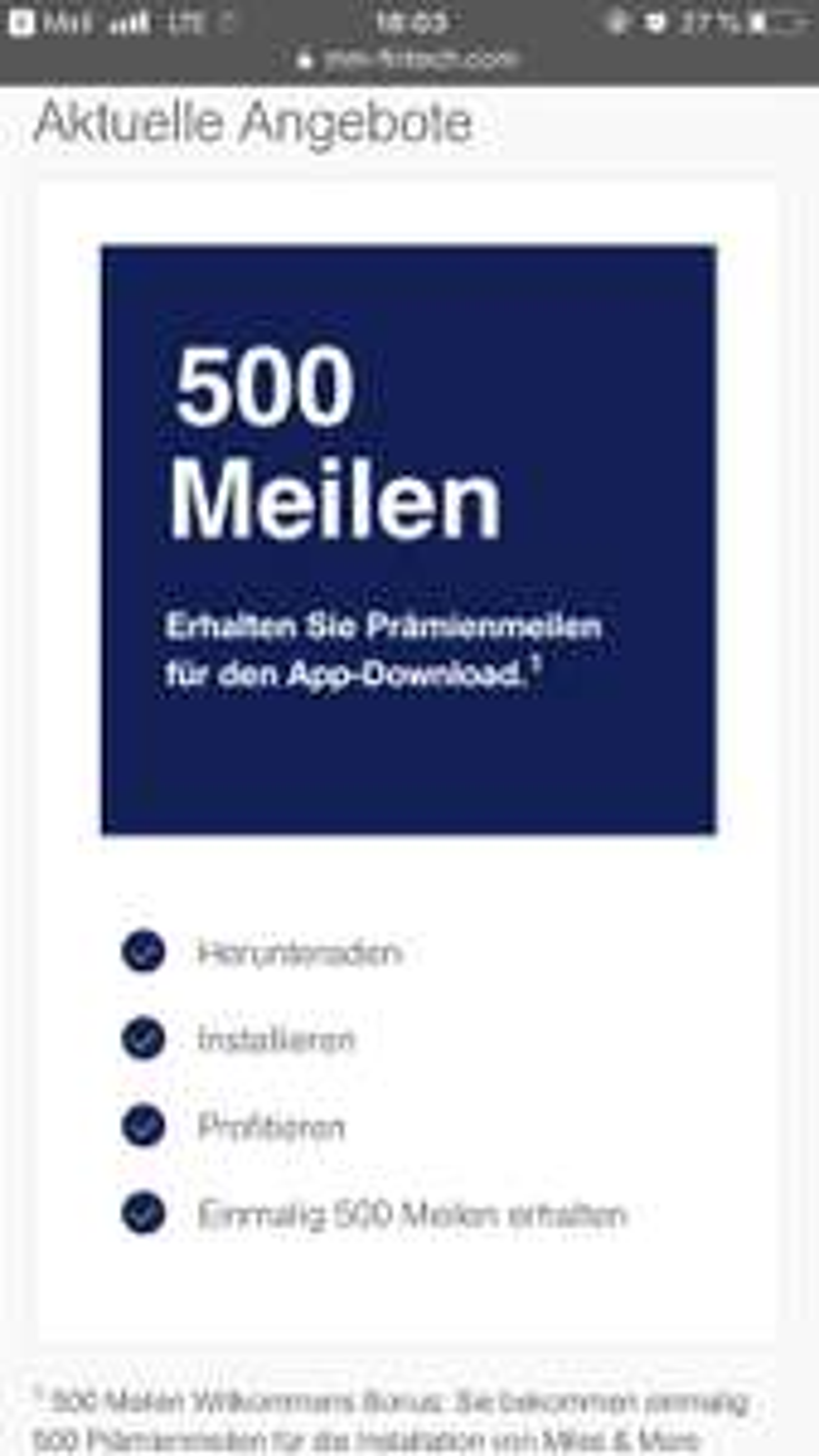 500 Prämienmeilen bei Miles and More kostenlos durch App-Download (Lufthansa)