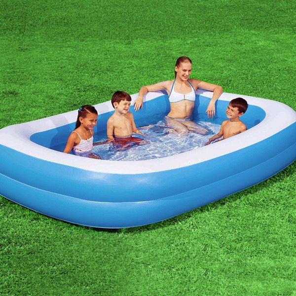 Planschbecken Blue Rectangular Family Pool Planschbecken 211x132x46cm