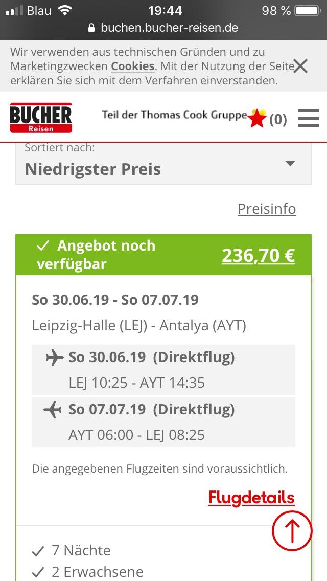 Last Minute Türkei 7 Tage mit Flug 118,35€ pP