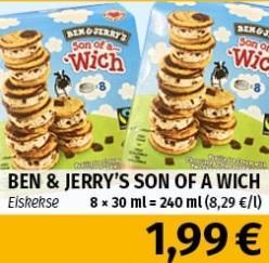 Ben&Jerrys Son of a... Wich für nur 1,99€ [lokal]