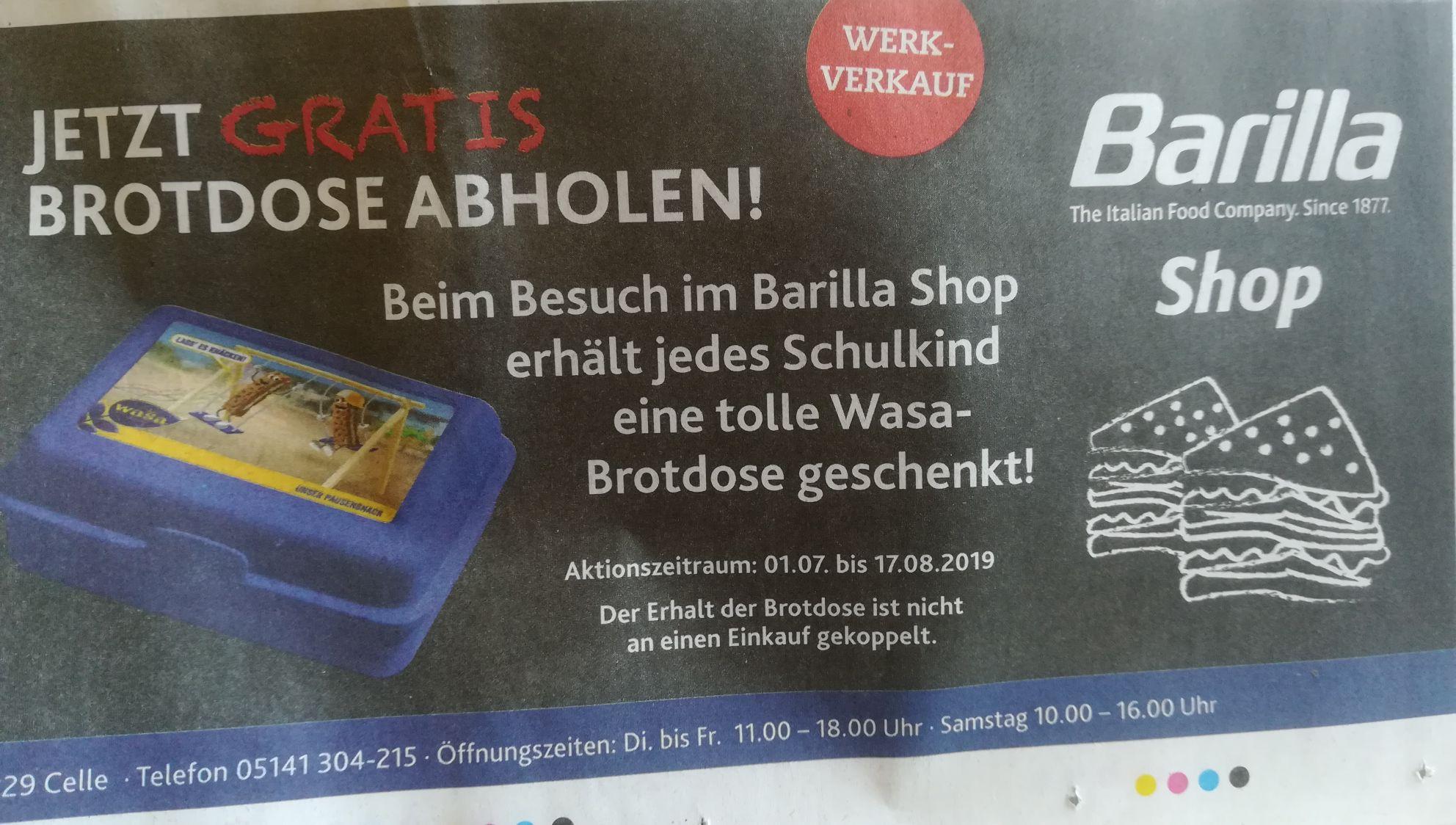 [Lokal Celle] Gratis Brotdose für Schulkinder im Barilla Shop
