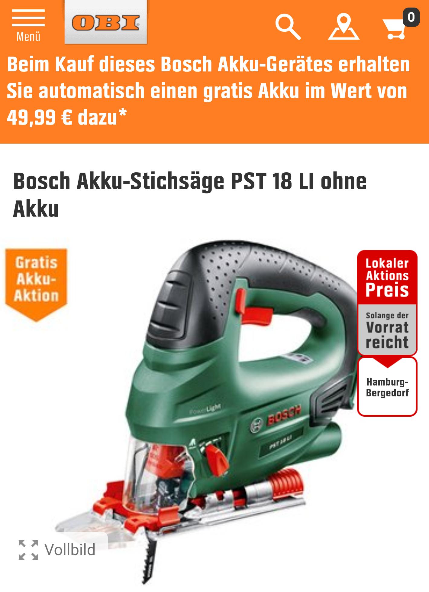 [Lokal Obi HH-Bergedorf] Bosch PST 18 Li inkl. Akku Starter Pack im Wert von 49,99 Euro