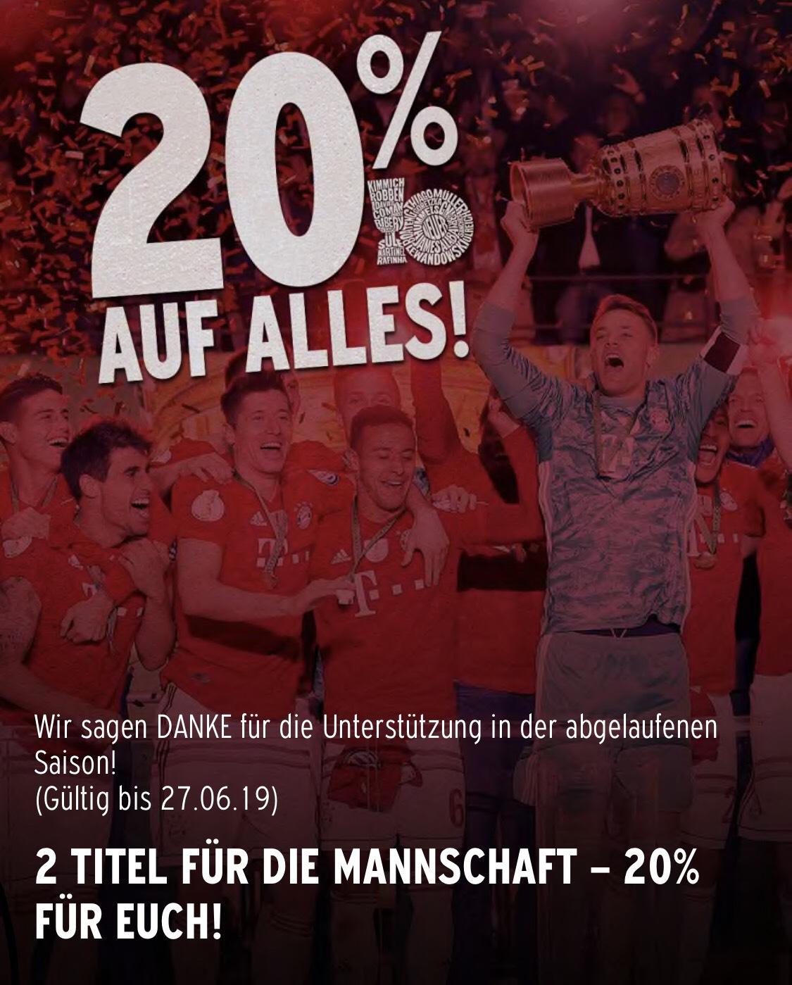 20% auf alles im FC Bayern Online Shop