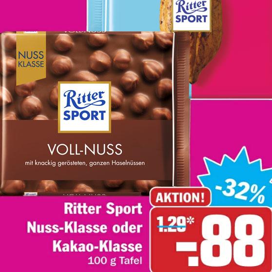Ritter Sport Nussklasse für nur 88 Cent bei ( HIT )