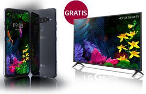"LG G8s ThinQ (6,2"" AMOLED, SD855, 6/128GB, 3550mAh, Qi, AnTuTu 371k) + 43"" UHD TV im WinSim (3GB LTE, All/SMS) mtl. 28,99€ und einm. 19,99€"