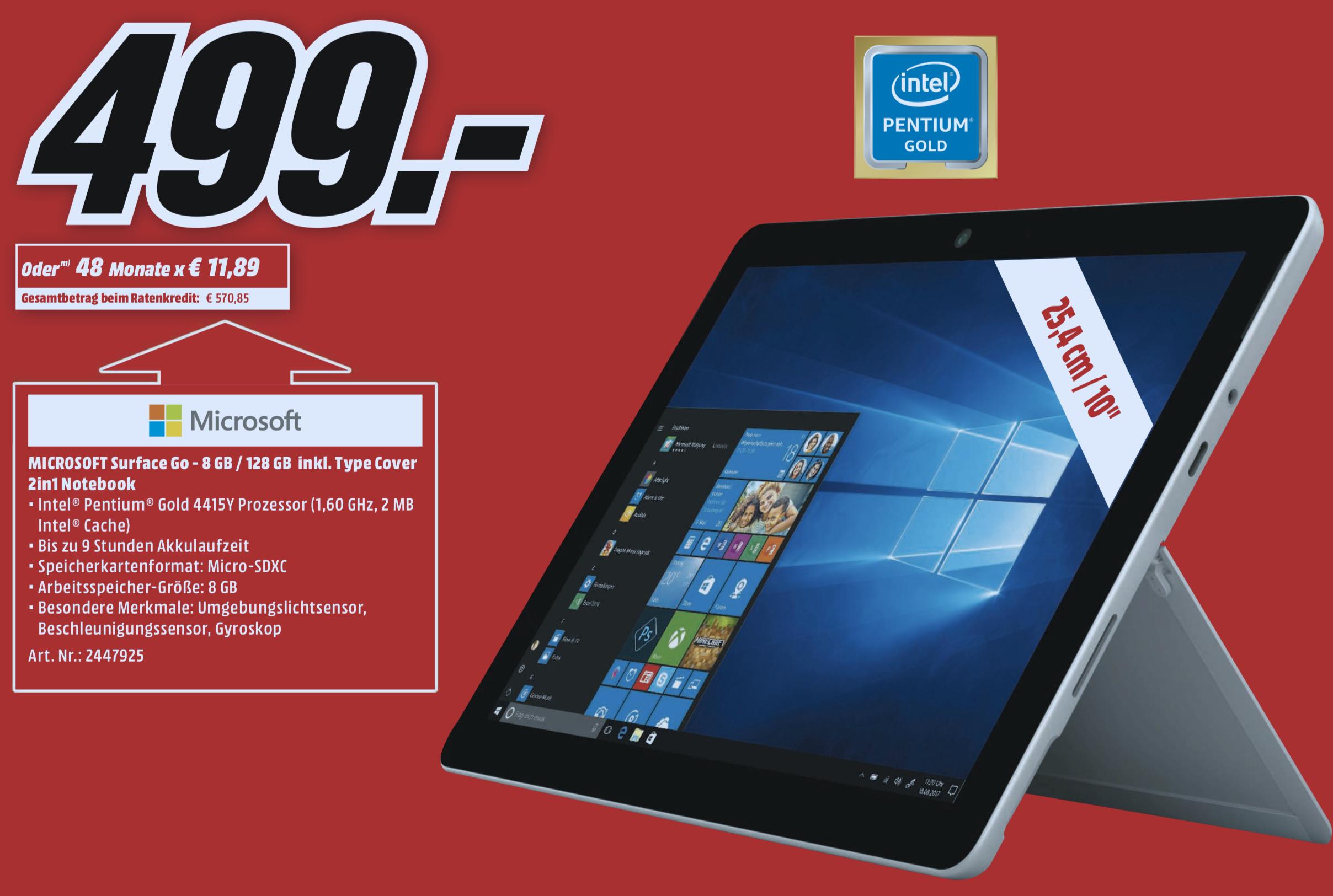 Lokal Castrop-Rauxel: MICROSOFT Surface Go 128GB SSD 8GB RAM + Type Cover für 499€ oder Anker Soundcore Flare 2 Stück für 79€
