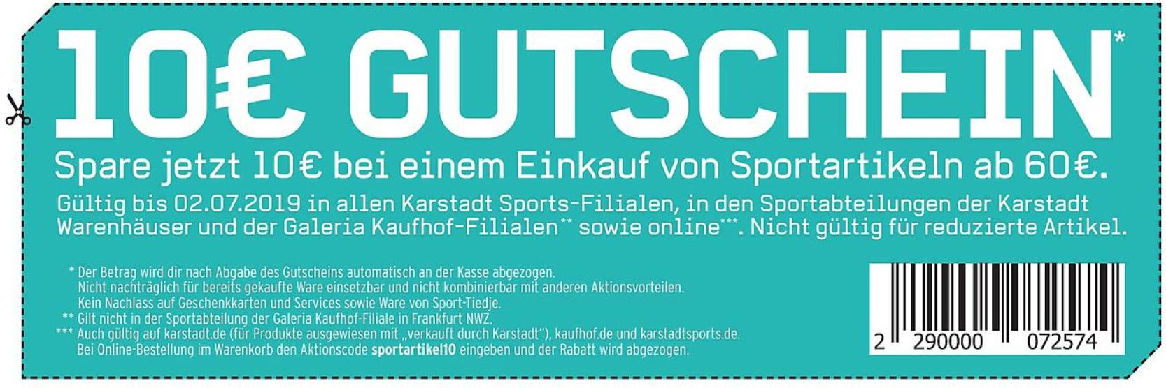[Kartstadt Sports] Online & Offline 10€ Gutschein (MBW: 60€)