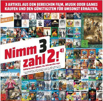 [Regional Mediamarkt Neunkirchen] Multibuy-Aktion 3 für 2 auf Games,Musik und Film