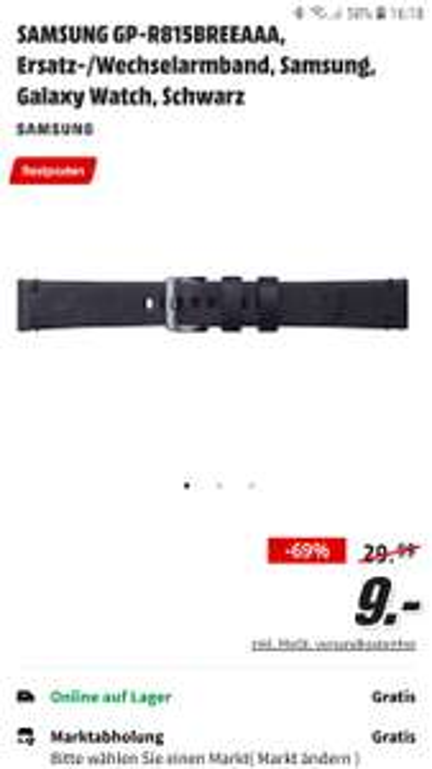 Samsung Galaxy Watch 42 Armband in schwarz