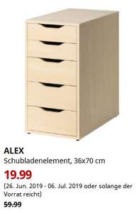 ALEX Schubladenelement, 36x70 cm, Birke    [Lokal: Ikea Düsseldorf]
