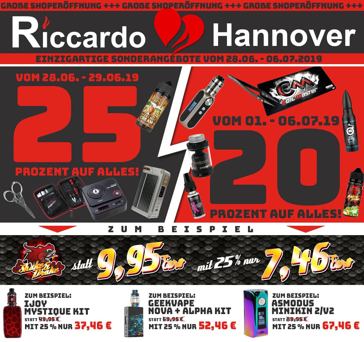 [Riccardo]: ONLINE: 15% Rabatt auf alles – OFFLINE Hannover: 25% Rabatt auf alles