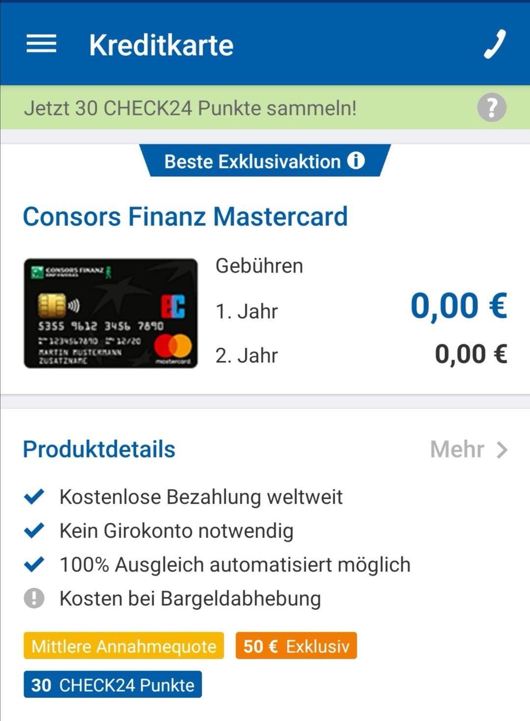 Kostenlose Mastercard, 50€ Cashback via Check24