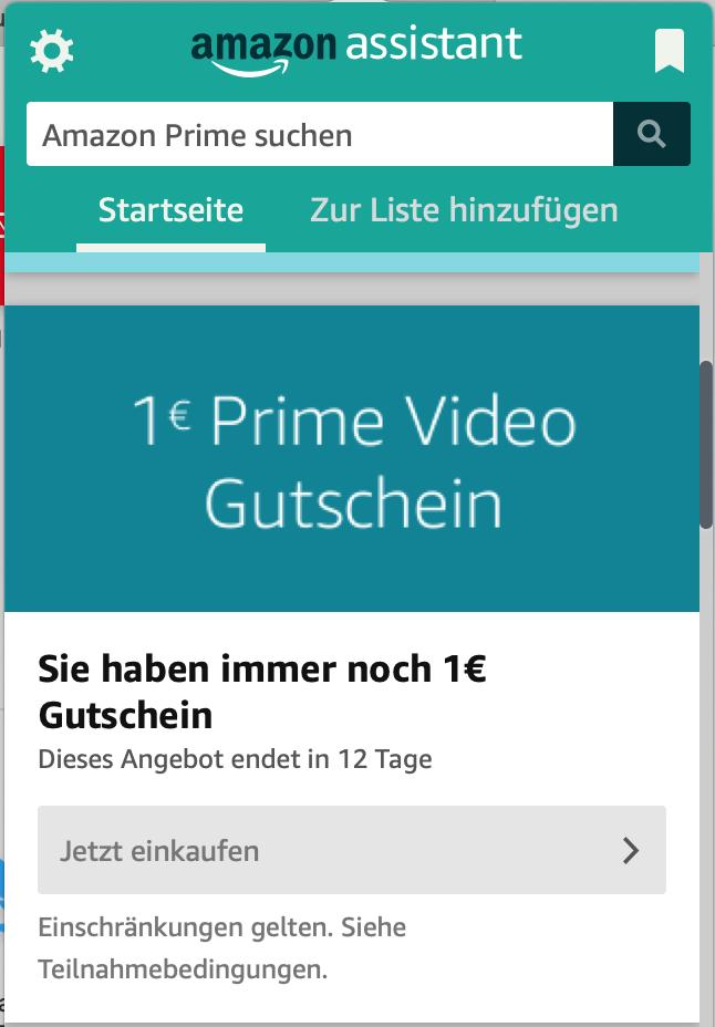 1€ Rabatt bei Prime Video