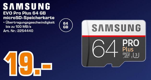 [Regional Saturn Ingolstadt] Samsung PRO Plus Micro SDXC 64GB bis zu 100MB/s, Class 10 U3 Speicherkarte (inkl. SD Adapter)  für 19,-€