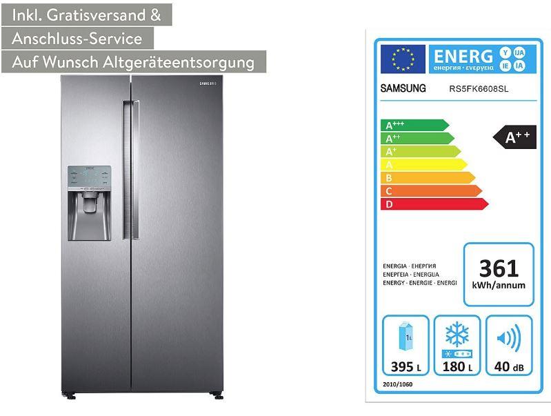 [B4F] SAMSUNG Kühl- und Gefrierkombi RS-5FK6608SL, 575l, A++ Side-by-Side Kühlschrank