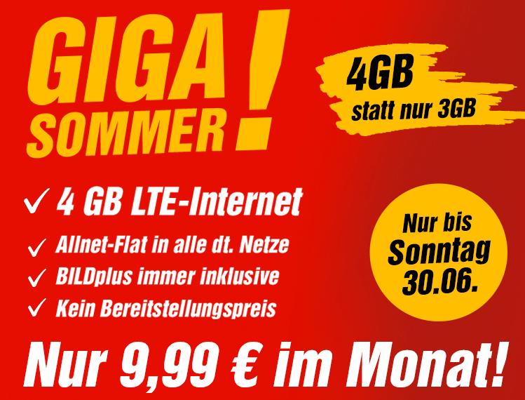 Allnet/SMS Flat, 4GB LTE im O2-Netz inkl. Bild+ Abo, 24M Vertrag, 9,99€/Monat