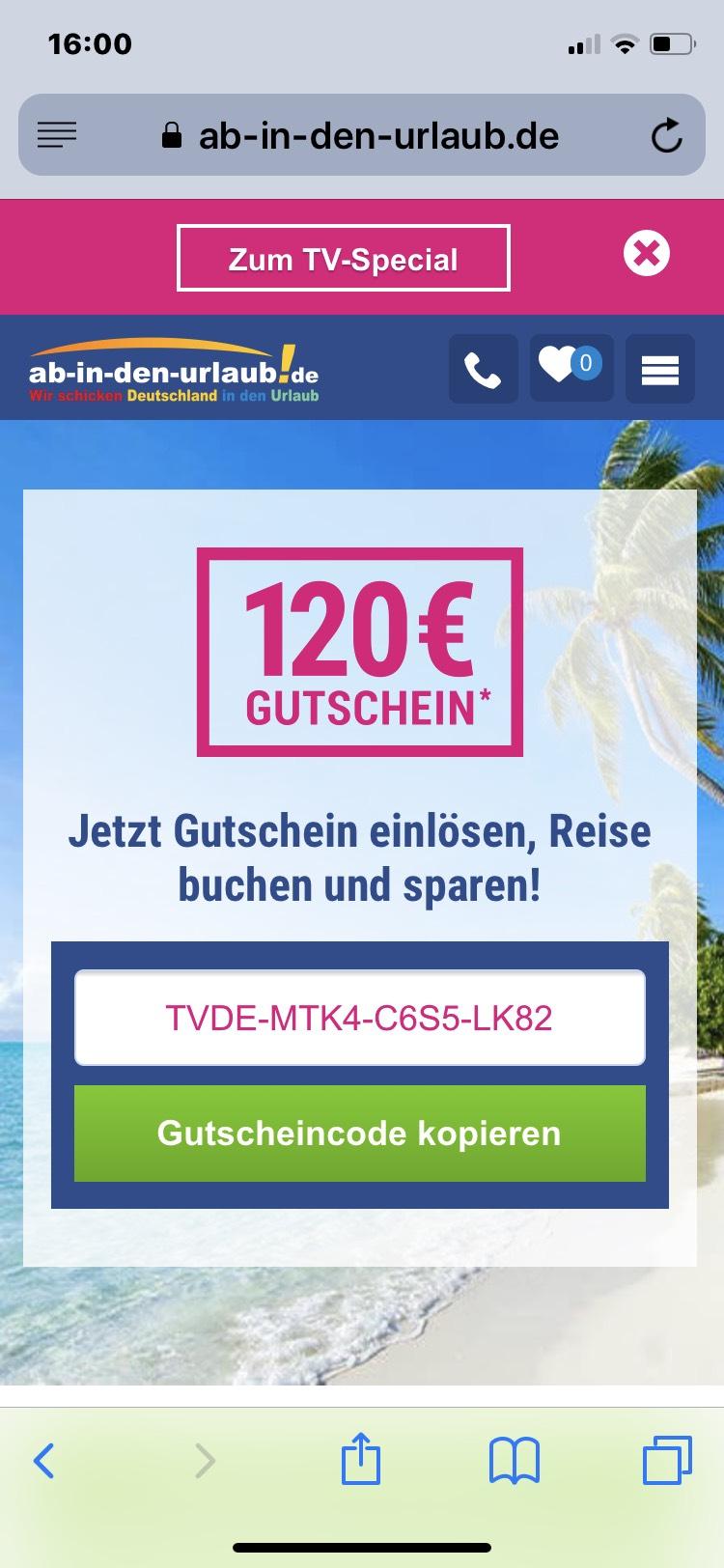 120€ bei Ab in den Urlaub bei 1200€ Wert