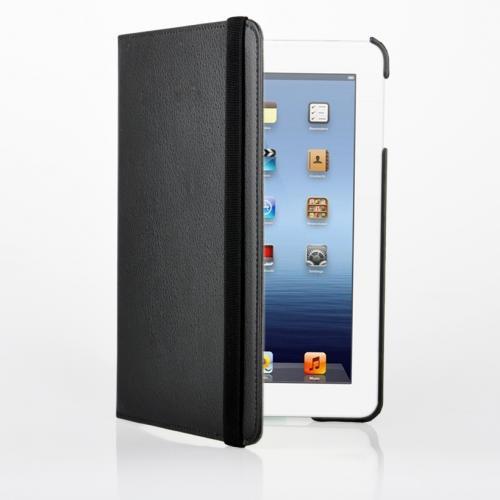 iPad Mini Ledertasche +Schutzfolie 360 Grad drehbar in schwarz