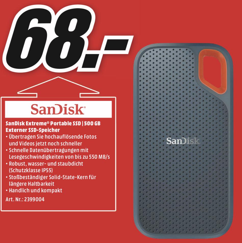 Lokal MediaMarkt Aschaffenburg: SANDISK Extreme Portable SSD 500GB für 68€