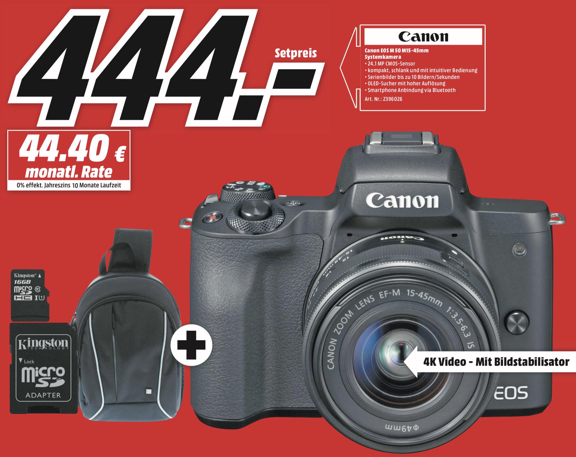 Lokal MediaMarkt Weiterstadt: CANON EOS M50 Kit Systemkamera 24.1 MP mit Objektiv 15-45 mm + Tasche + Speicherkarte für 444€