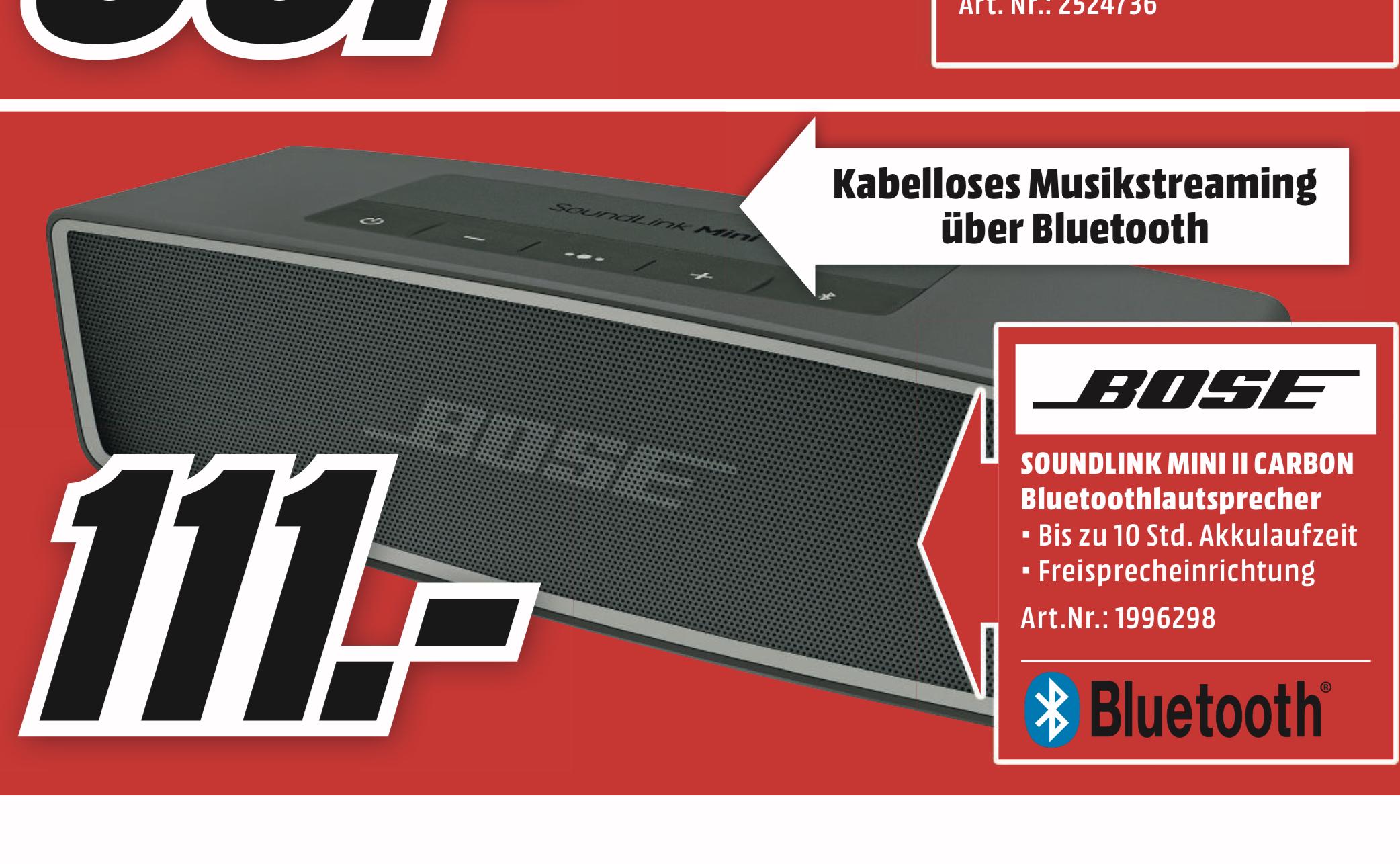 Lokal MediaMarkt Paderborn u. Elmshorn: Bose SoundLink Mini II für 111€
