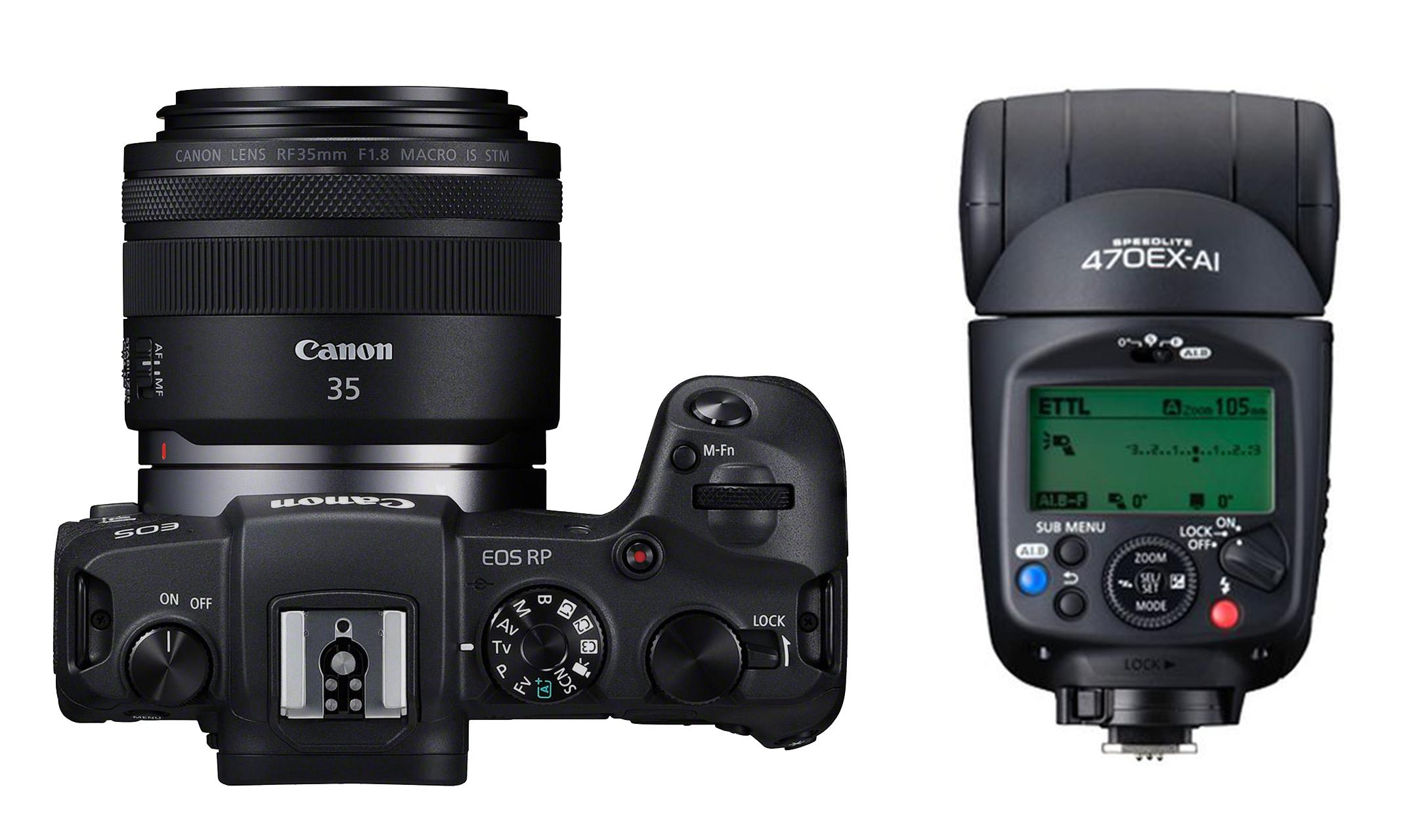 [Lokal Münster] Canon EOS RP mit EF Adapter + RF 35mm f1.8 Makro + Speedlite 470EX-AI + Extras