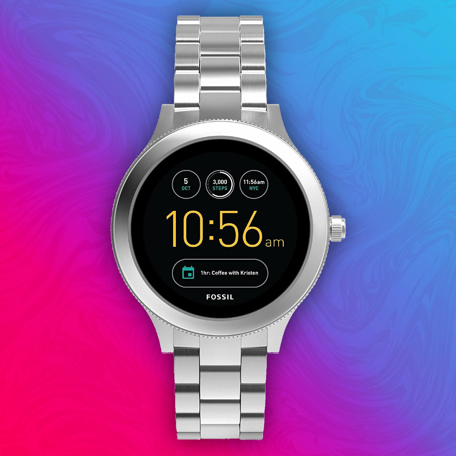 Fossil Damen Smartwatch Q Venture 3. Generation - Edelstahl - Silber - Für Android & iOS
