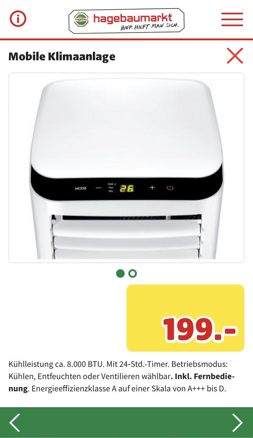 Lokal Trier/Konz +++ Mobile Klimaanlage 8.000 BTU Hagebaumarkt