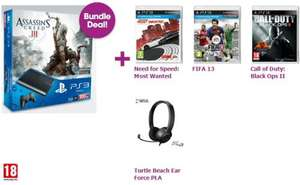 PlayStation 3 500GB Slim Assassin's Creed III, Need for Speed Most Wanted, FIFA 13, Black Ops II & Turtle Beach PLA Headset für 373 €