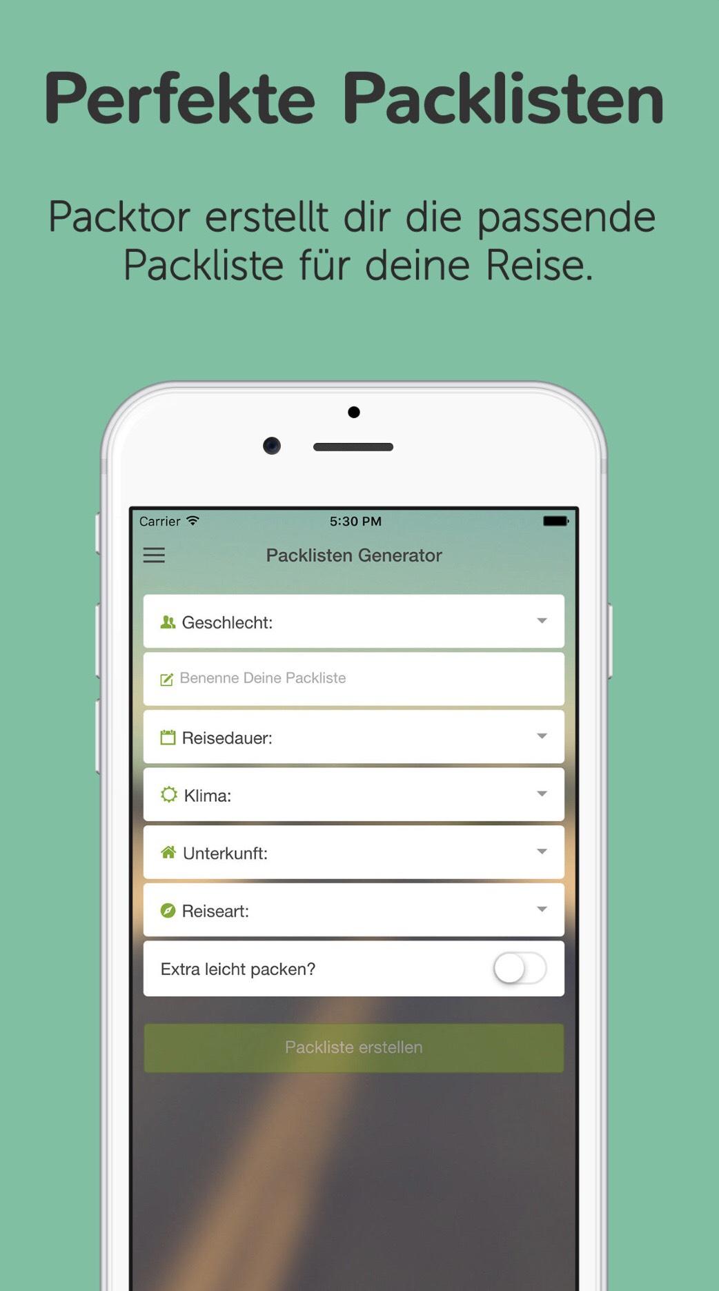 Packtor, die Packlisten-App (6 Packlisten für iOS & Android gratis)
