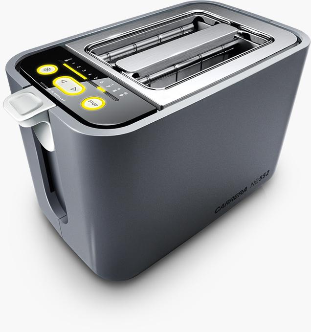 Toaster Carrera No 552 (860W, 9 Bräunungsstufen, Quarz-Keramik-Heizröhren, Auto-Brotzentrierung, Liftfunktion, optischer Countdown)