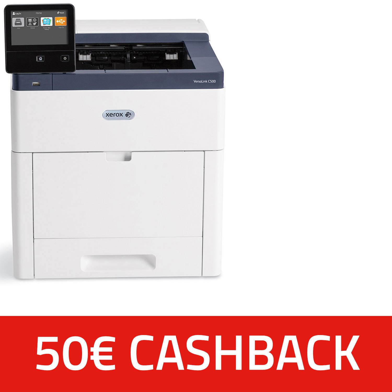 Farblaserdrucker Xerox VersaLink C500N (A4, 1.200 x 2.400 dpi, bis zu 43 S/min, USB, NFC, LAN, ~1.1 Cent/Seite s/w) + 50€ Cashback