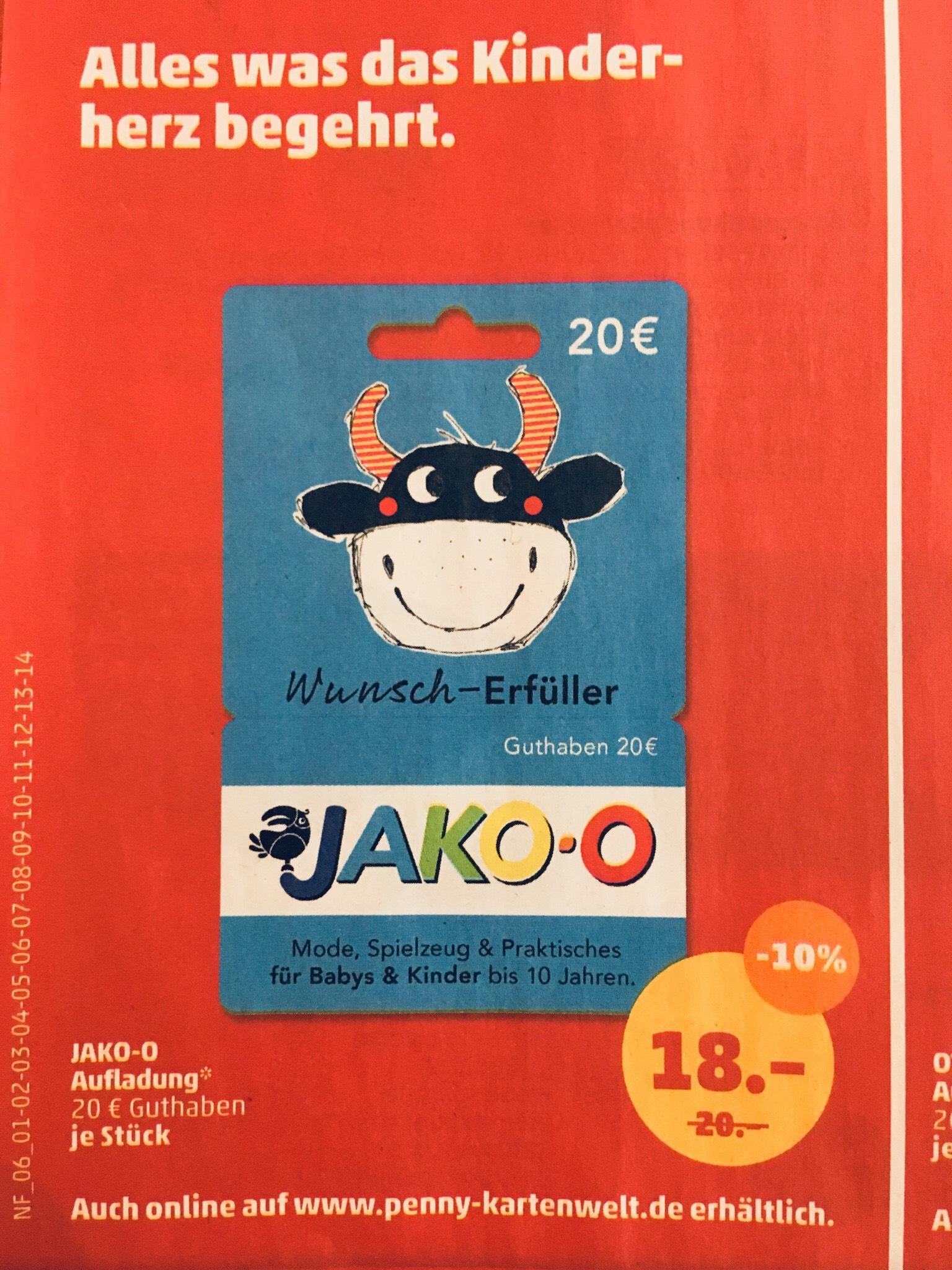 JAKO-O 20,- Geschenkkarte für 18,- € (Penny ab Montag, 01.07.)