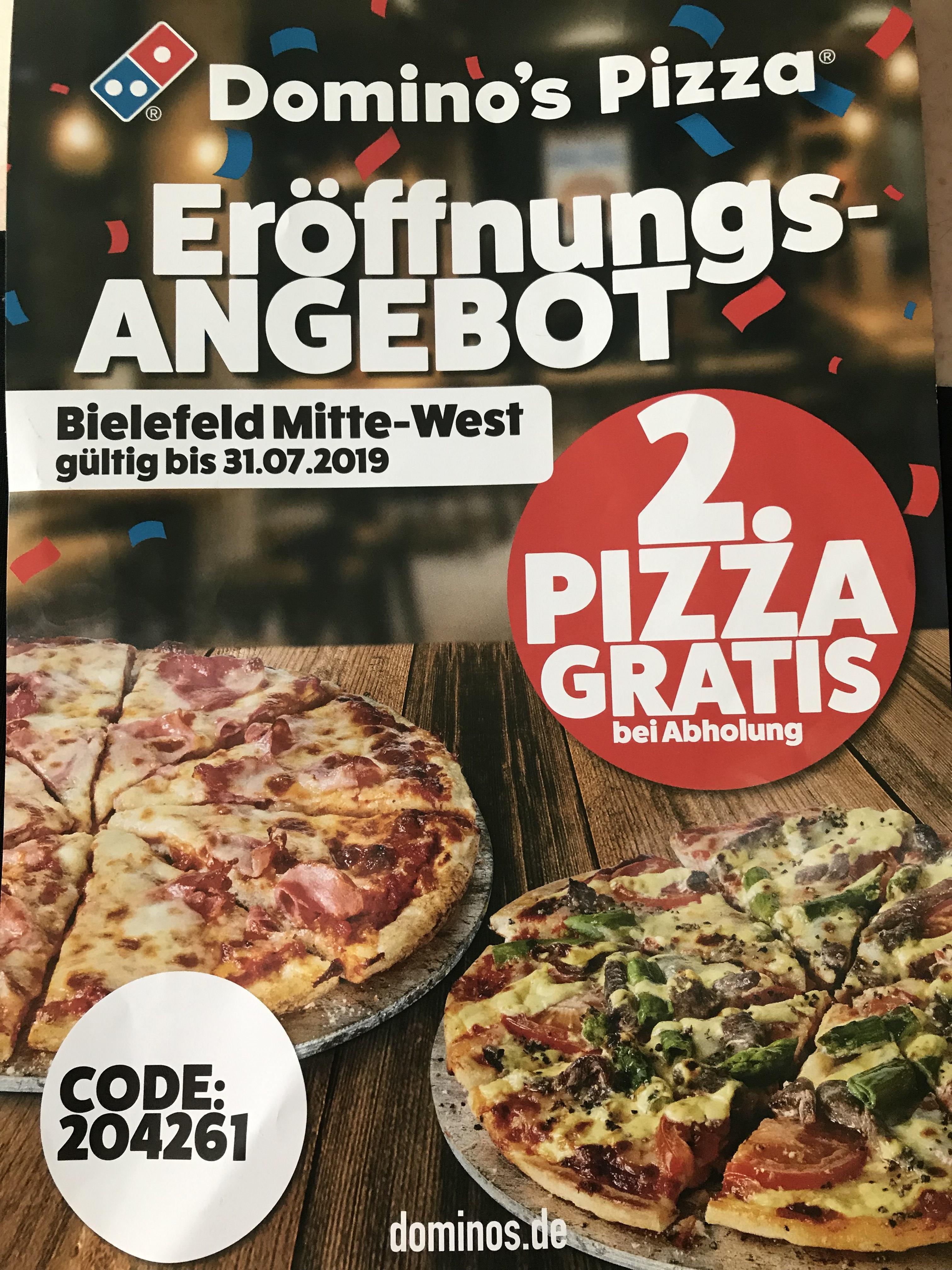 [Lokal Bielefeld] Dominos 2. Pizza Gratis (Neueröffnung)