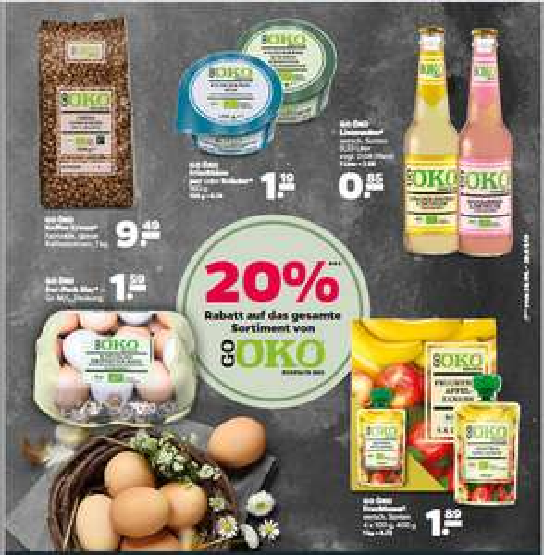 Lokal Netto Wittstock 20 % auf BIO Marke GO ÖKO