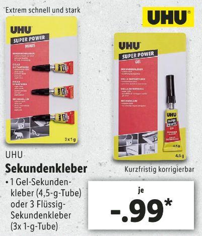 [LIDL ab 11.07] UHU® Sekundenkleber Super Power MINIs 3x1 gramm oder Super Power Gel 4,5g für je 0,99€