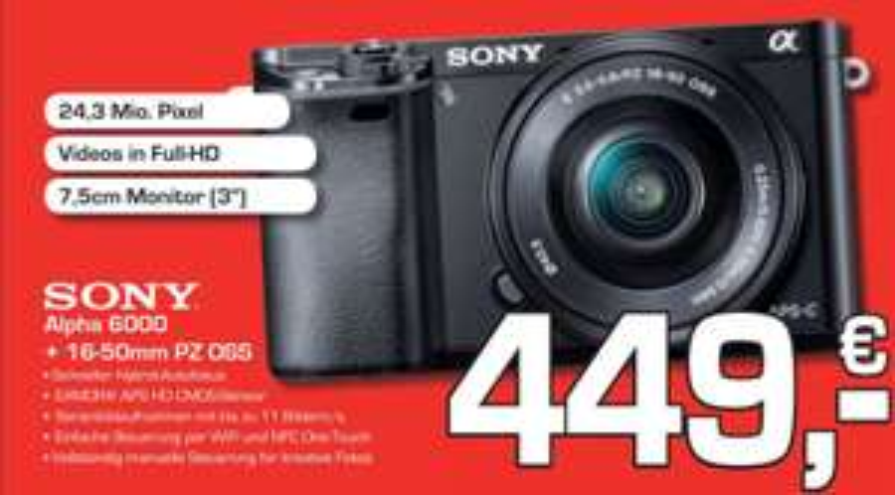 Sony Alpha 6000 Schwarz + 16-50 für 449 €